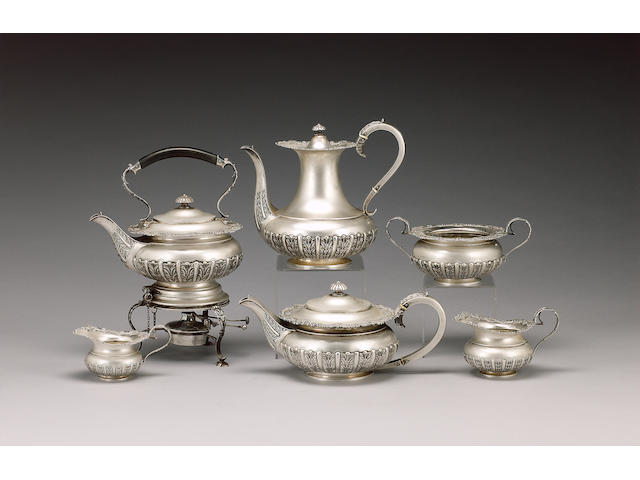 An Edwardian silver five piece tea and coffee service including a kettle on stand, by James Dixon &