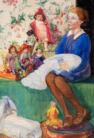 Framed watercolour, Child with Dolls by Anna Airy