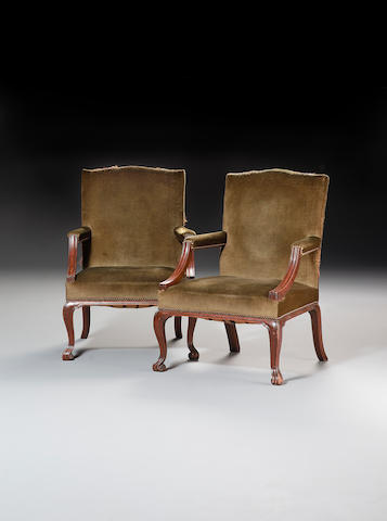 A pair of early George III  mahogany 'Gainsborough' type Open Armchairs