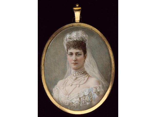 Miss Edith Maas, Queen Alexandra (1844-1925), wearing white dress, extensive pearl choker and necklace, crown and veil in her hair, breast star of the Order of the Garter and other badges on her dress
