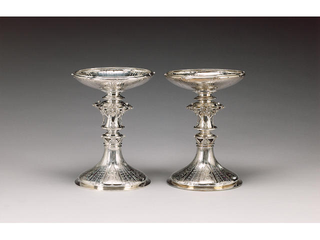 A pair of Victorian silver tazze, by C. F. Hancocks, London 1859, fitted in a two-handled wood case,