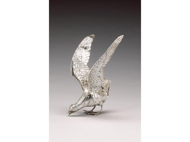 A German silver model of a Gull, by Neresheimer of Hanau and bearing import marks for London 1911, sponsor's mark of Berthold Müller,