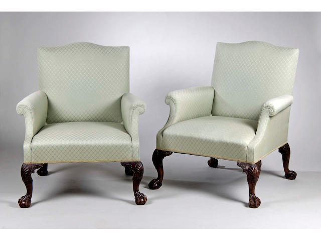 An impressive George II style five piece salon suite,