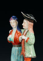 A fine and very rare famille rose model of a dancing European couple Qianlong