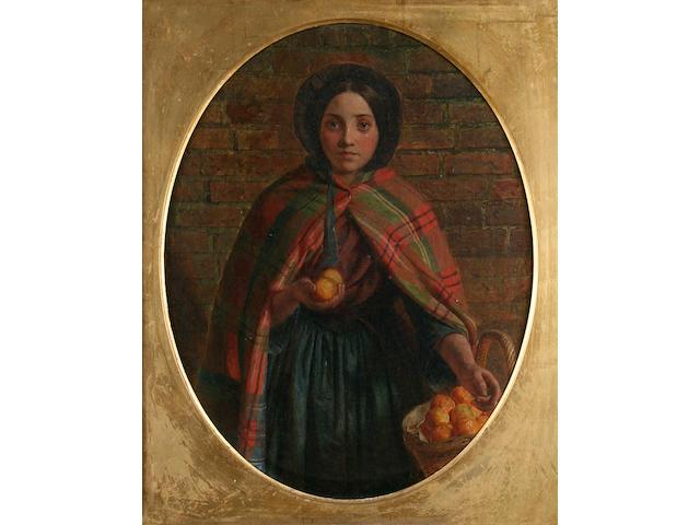 James Collinson (1825 - 1881) 'An Orange Girl', 45 x 35cm, oval.