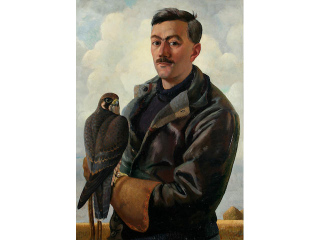 Charles Frederick Tunnicliffe (1901 - 1978) Portrait of Henry Williamson, 79 x 55.7cm.
