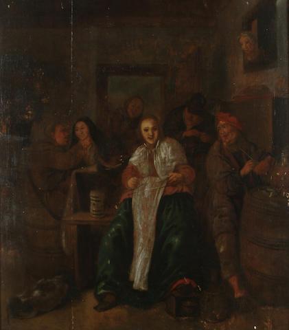 Dutch School 17th Century Figures in a tavern interior, 37.5 x 32.7cm (14 3/4 x 12 3/4in)