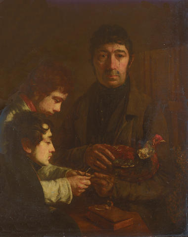 Continental School, 19th Century - Before the cock fight, oil on panel, unframed