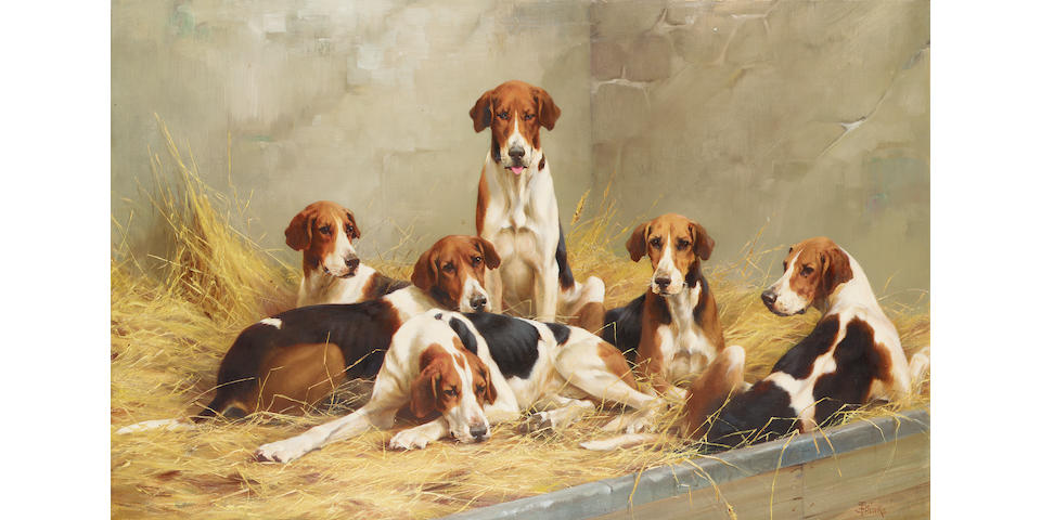 Thomas Blinks  Hounds on a bench 46 x 71 cm. (18 x 28 in.)