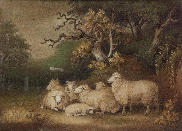 Attributed to Benjamin Zobel (German 1762-1831) Sheep in a landscape 35 x 46 cm. (13 3/4 x 18 in.)