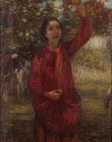 Edward Stott (British 1859-1918) In the orchard.