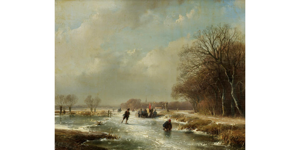 Andreas Schelfhout (Dutch 1787-1870) Winter landscape with skaters 14 x 18 cm. (5 1/2 x 7 in.)
