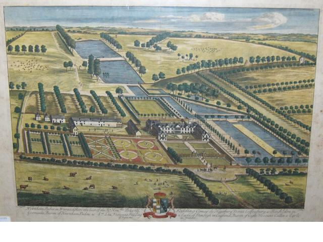 After Leonard Knyff Newnham Padox in Warwickshire the Seat of the Rt Honble Basill Feilding, hand-coloured double-page engraved bird's-eye view, coat of arms, engraved by Johannes Kip, 32 x 47cm (12½ x 18½in) [c.1740]