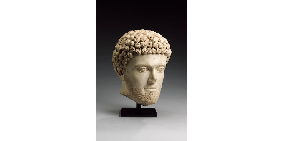 A Roman marble portrait head of a young man