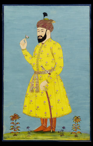 A portrait of Omar Shaykh Mirza (1456-1494), standing facing left, holding a rose, wearing a yellow floral jama Golconda, circa 1700