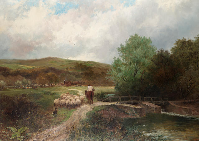 George Vicat Cole  (British 1833-1893) Driving home the flock 81 x 113 cm. (32 x 44 1/2 in.)