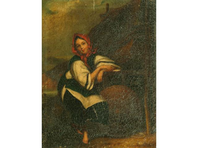 Chinese School (circa 1840) A young Chinese maid by the shore 41 x 33cm.
