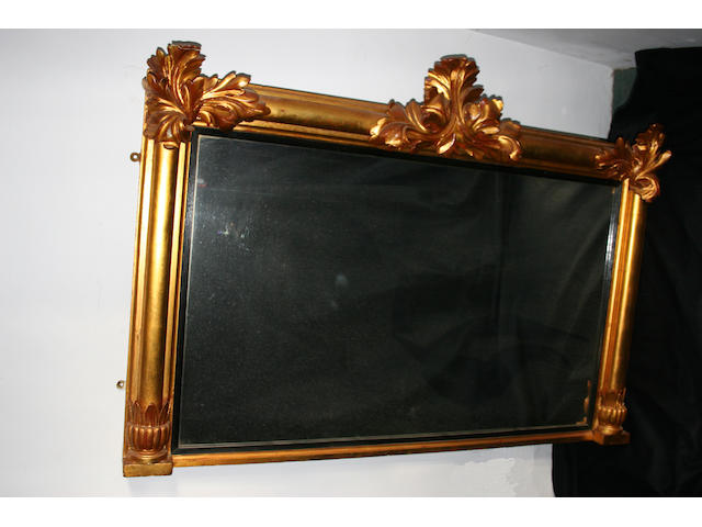 A 19th century Regency style giltwood pillared frame rectangular overmantel mirror,