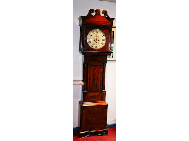 An early Victorian figured mahogany longcase clock,
