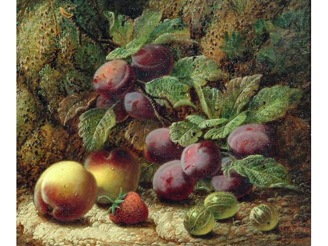 Oliver Clare (exh. 1888-1908) A still life of red and white grapes, an apple, raspberries and plums on a mossy bank; A still life of plums, peaches, a strawberry and gooseberries on a mossy bank 27.5 x 32cm.