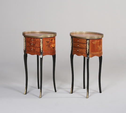 A matched pair of transitional style kingwood and tulipwood table de nuit