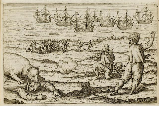 VEER (GERRIT DE) Diarium nauticum seu vera descriptio trium navigationum admirandarum... ad Septentr