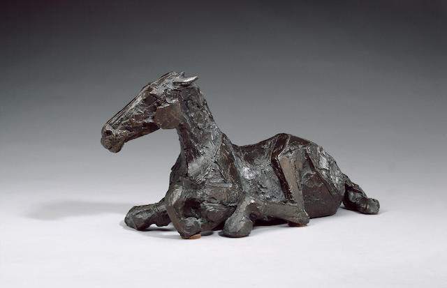 Dame Elisabeth Frink R.A. (1930-1993) Horse in the rain III 35 cm. (13 3/4 in.) long