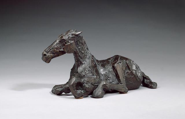 Dame Elisabeth Frink R.A. (1930-1993) Horse in the rain III 35 cm. (13 3/4 in.) long