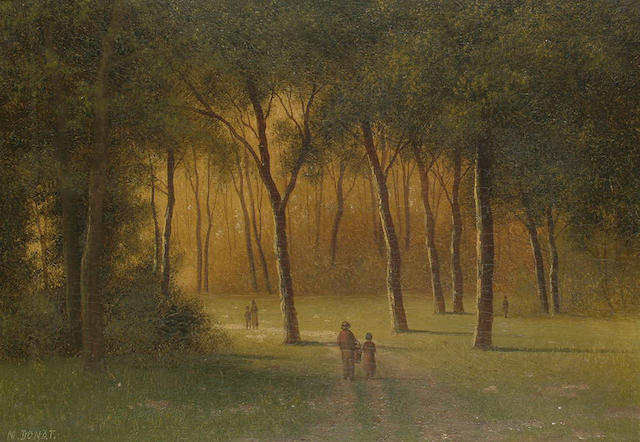 M** Donat Figures in a wooded park, 16.5 x 23.5cm (6 1/2 x 9 1/4in)