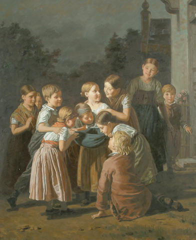 P. Musin (20th/21st Century) Children at play, 76 x 63cm (30 x 24 3/4in)