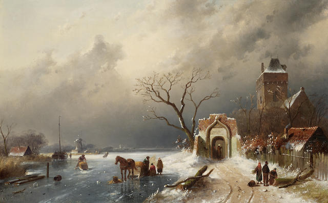 Charles Henry Joseph Leickert (Dutch 1816-1907) Winter landscape with figures skating, a windmill be