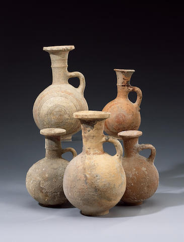 Five Cypro-Phoenician Bichrome Ware pottery jugs (#10) (5)