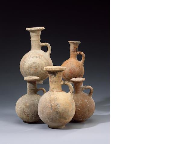 Five Cypro-Phoenician Bichrome Ware pottery jugs (#10) (5)