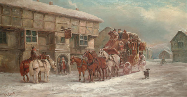 John Charles Maggs (British, 1819-1896) London to Bath (The George Inn), 36 x 66cm (14 1/8 x 26in)