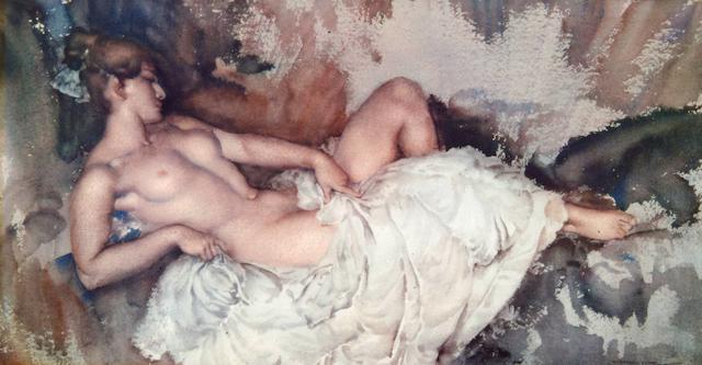 Sir William Russell Flint (1880-1969) 'Reclining Nude I' 31 x 57.5cm.