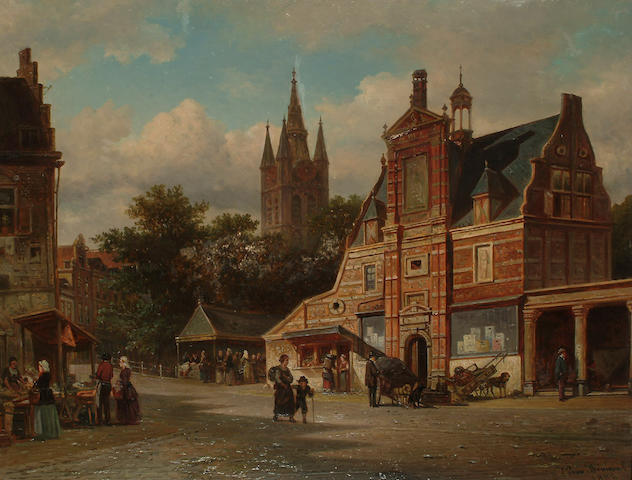 Elias Pieter van Bommel (Dutch 1819-1890) A view of Delft, 48 x 63cm (18 x 24 3/4in)