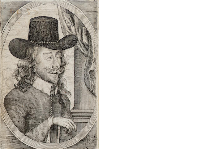A Collection Early British Prints Including an early engraved portrait of Charles 1, a mezzotint por