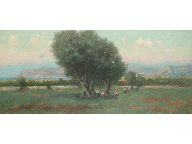 Erminio Cremp Figures in an olive grove, near the coast, 40.9 x 91.5cm (16 1/8 x 36in)