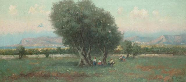 Erminio Cremp Figures in an olive grove, near the coast, 40.9 x 91.5cm (16 1/8 x 36in)