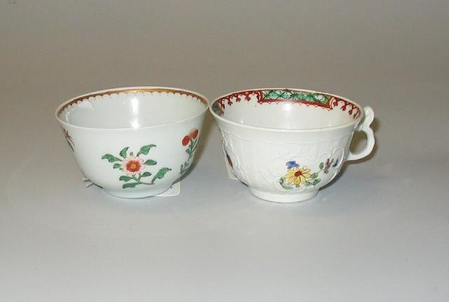 An unusual small Worcester teacup and an interesting teabowl circa 1756 and circa 1762