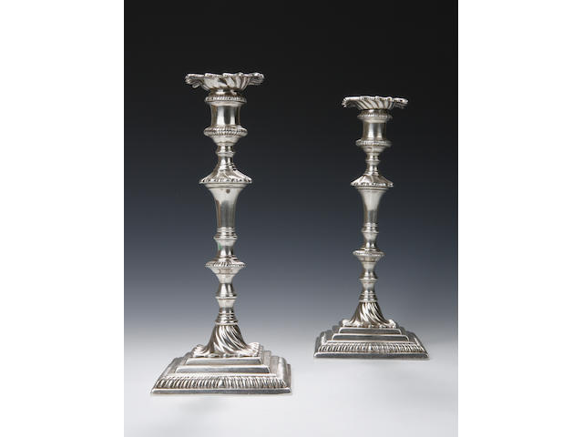 A pair of George III silver candlesticks, makers mark unclear, possibly William Gould, London 1767,