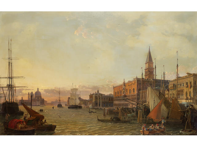 Christian Friedrich Nerly (German 1807-1878) The Riva degli Schiavoni, Venice, with the Doge's Palac