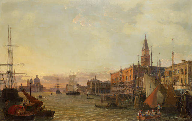 Christian Friedrich Nerly (German 1807-1878) The Riva degli Schiavoni, Venice, with the Doge's Palace, the Piazzetta San Marco and Santa Maria della Salute beyond 69.5 x 109 cm. (27 1/4 x 43 in.)
