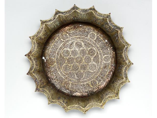 A large Khorasan silver-inlaid bronze Basin Persia, circa 1300-1320