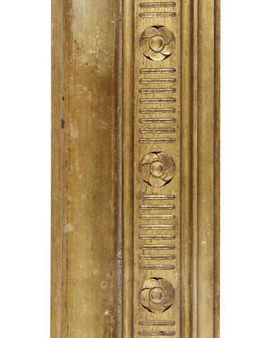 An English late 19th Century carved and gilded oak Pre-Raphaelite frame, in four sections