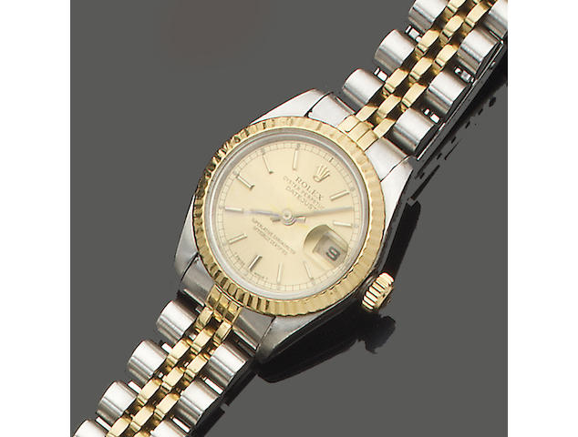 Rolex. A lady's steel and gold Datejust bracelet watch