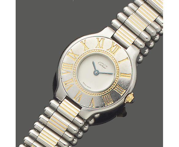 Cartier. A steel and gold Panthére bracelet watch