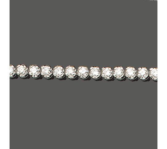A diamond line bracelet, set in 18ct white gold