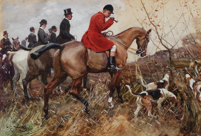 Sir Alfred James Munnings P.R.A., R.W.S. (1878-1959) The hunt 32 x 47 cm. (12 5/8 x 18 1/2 in.)