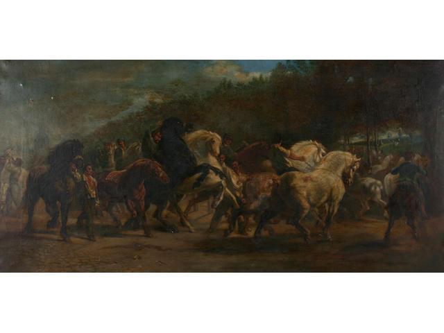 Follower of Rosa Bonheur Rounding up horses, 44 x 89.5cm.